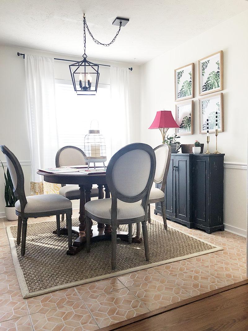 a4abb61b696 colorful kitchen decor - world market linen dining chairs - sideboard decor  - lantern pendant ...