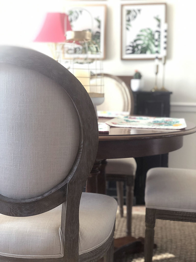 54e6ac5736c ... restoration hardware inspired dining room chairs - narrrow sideboard -  tropical prints - world market Paige